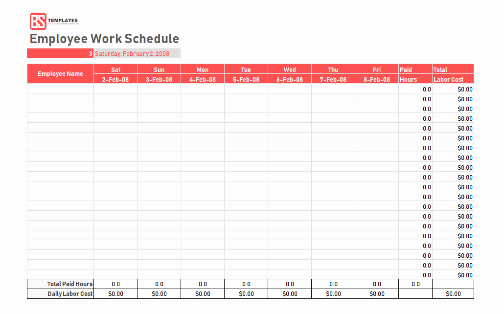 Template for Work Schedule Fresh Work Schedule Template Daily Weekly