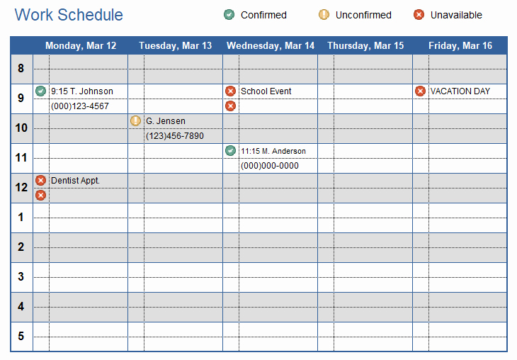 Template for Work Schedule Fresh Work Schedule Template for Excel