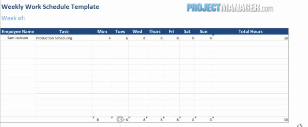 Template for Work Schedule Fresh Work Schedule Template — Projectmanager