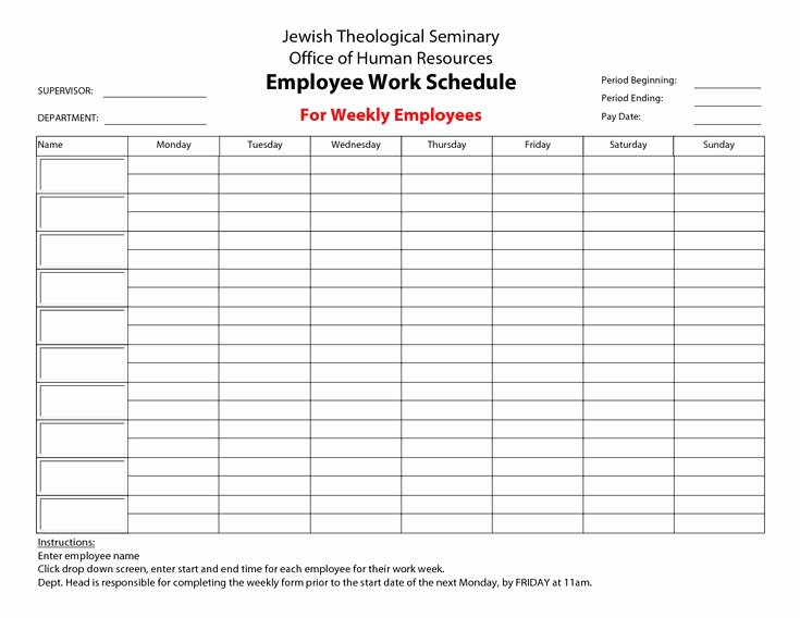 Template for Work Schedule Inspirational 20 Hour Work Week Template