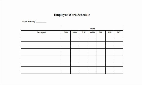 Template for Work Schedule New Employee Work Schedule Template