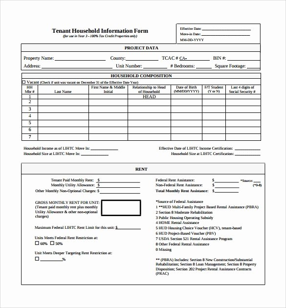 Tenant Information form Template Awesome 11 Tenant Information forms Pdf Word
