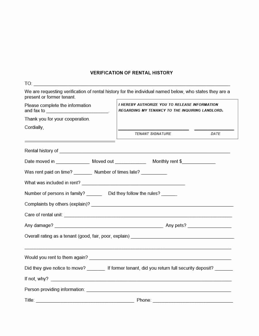 Tenant Information form Template Awesome 29 Rental Verification forms for Landlord or Tenant