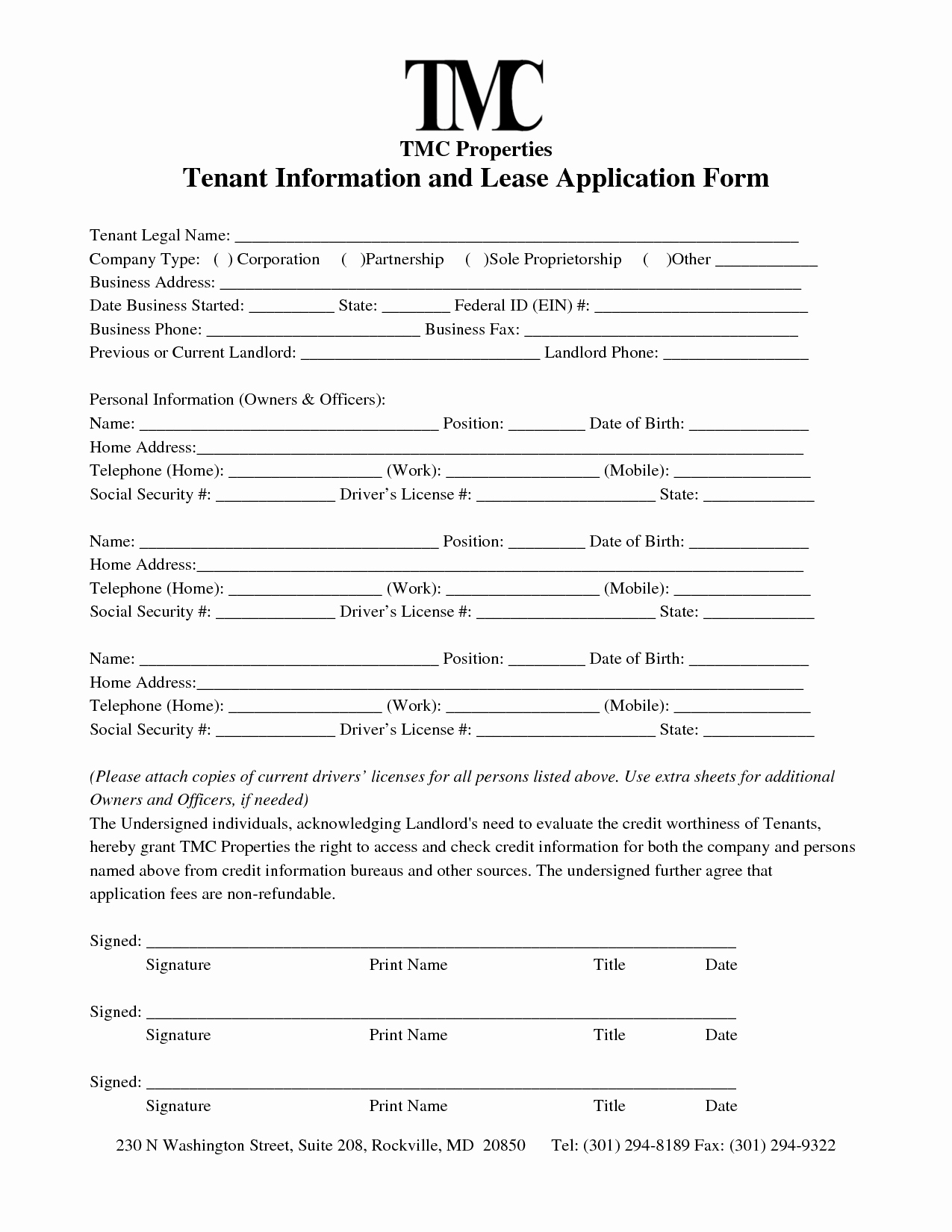 Tenant Information form Template Awesome Best S Of Renter Information form Tenant