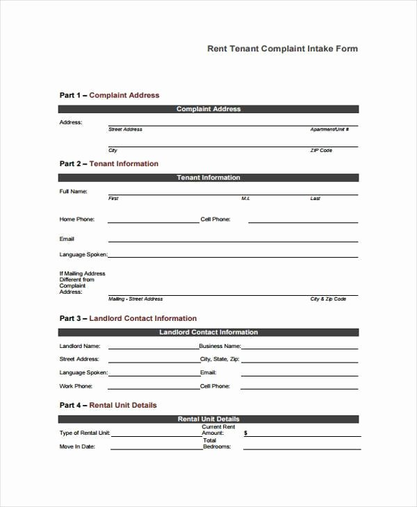 Tenant Information form Template Beautiful Free 8 Sample Tenant Plaint forms In Pdf