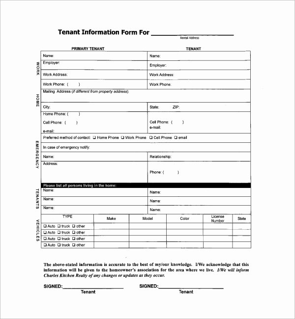 Tenant Information form Template Best Of 11 Tenant Information forms Pdf Word