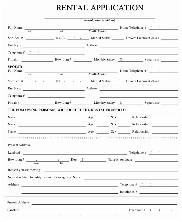 Tenant Information form Template New Rental Application Templates 10 Free Word Pdf