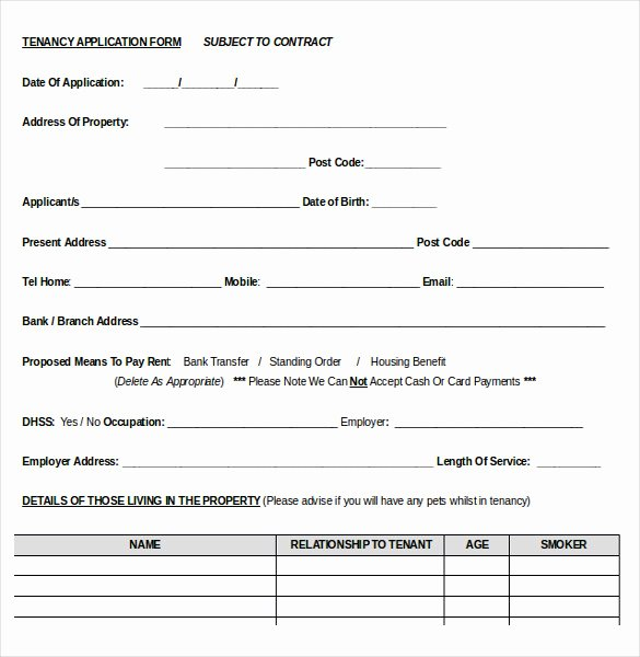 Tenant Information form Template Unique 10 Word Rental Application Templates Free Download