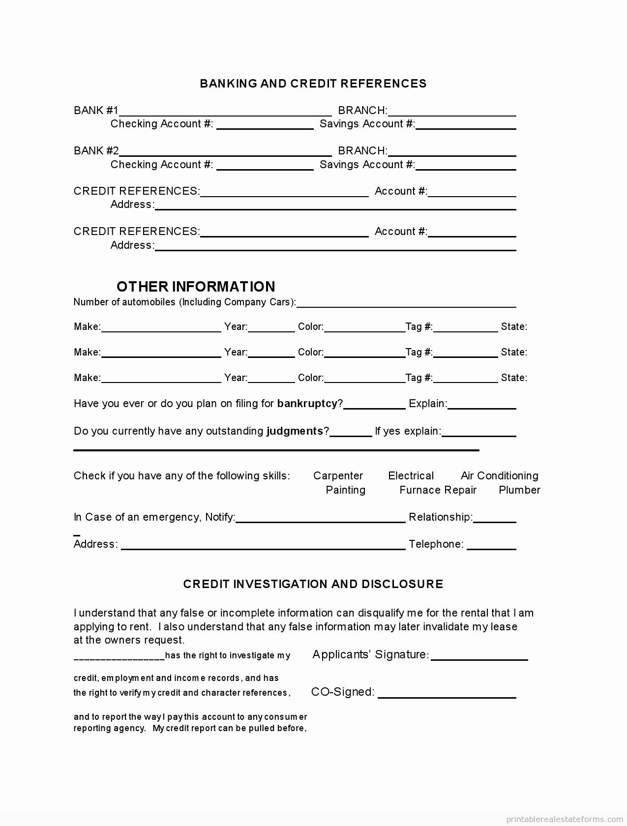 Tenant Information form Template Unique Printable Tenant Rental Application Template 2015
