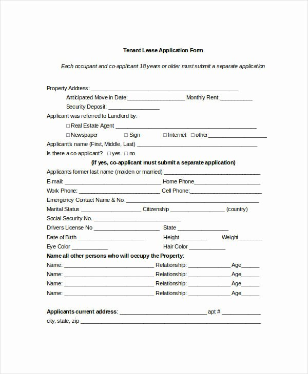 Tenant Information Sheet Template Awesome Tenant Application form 9 Free Word Pdf Documents