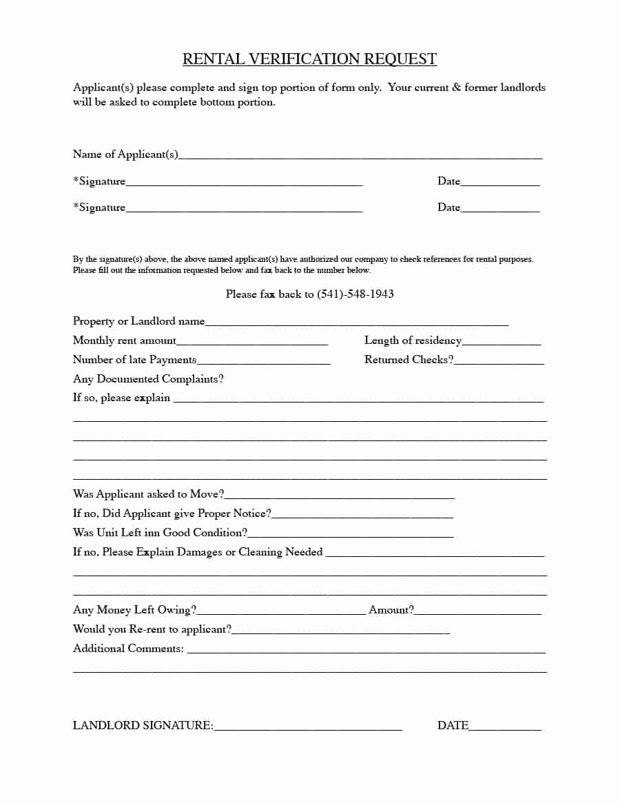 Tenant Information Sheet Template Best Of 29 Rental Verification forms for Landlord or Tenant