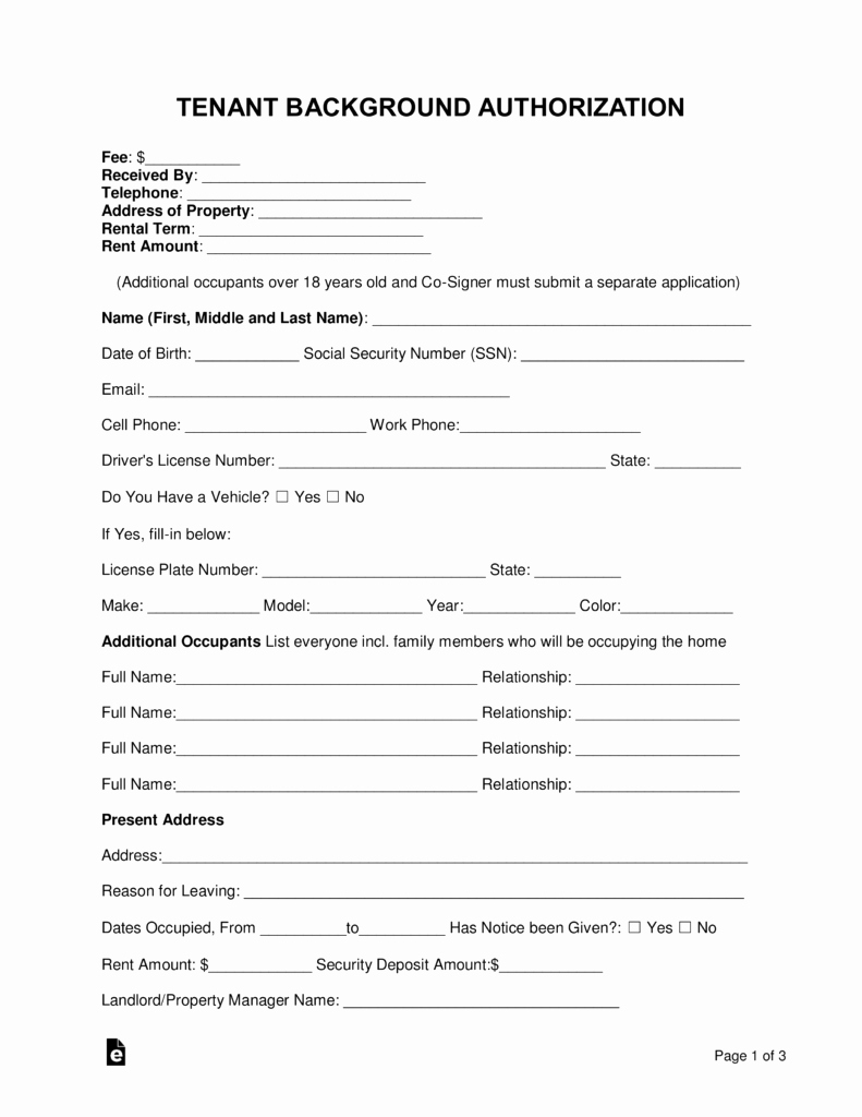 Tenant Information Sheet Template Elegant Free Tenant Renter Background Check form Word