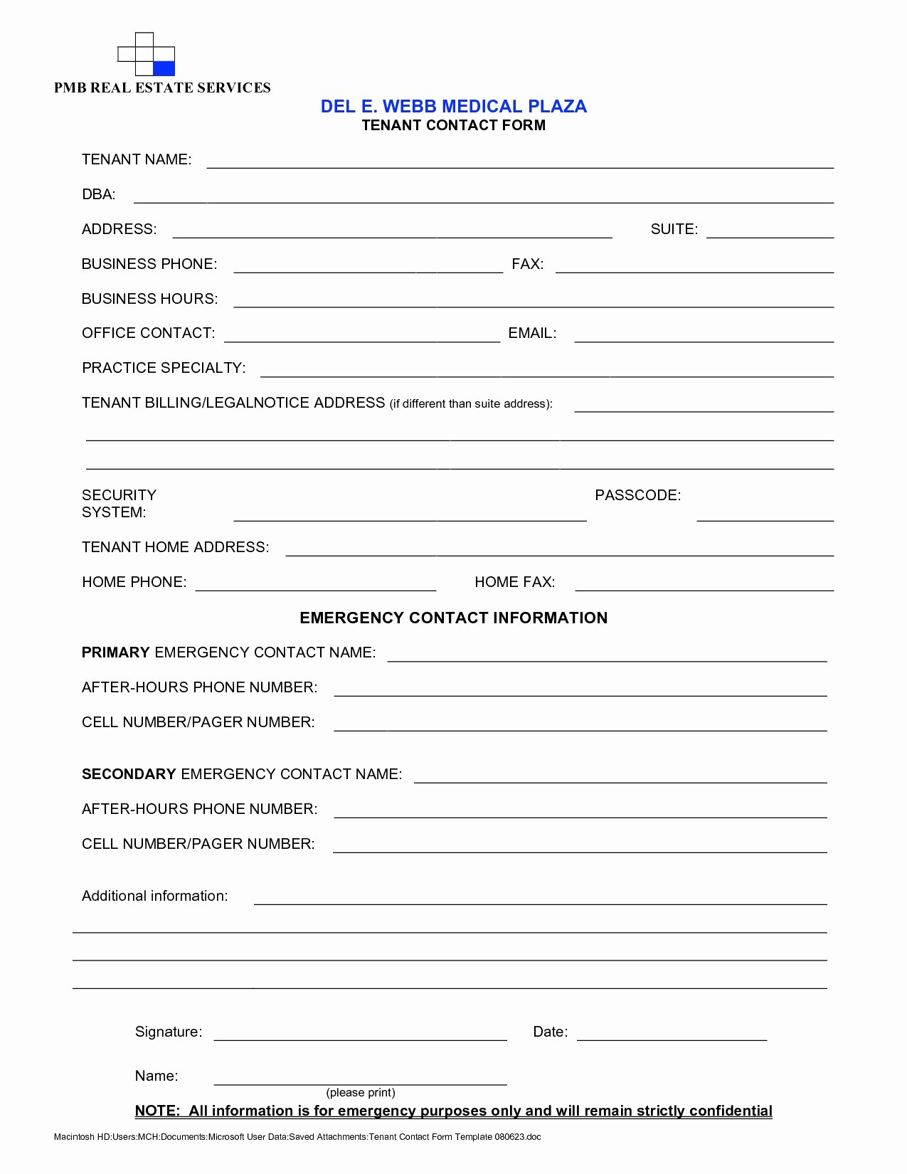 Tenant Information Sheet Template Fresh Update Your Contact Information Template