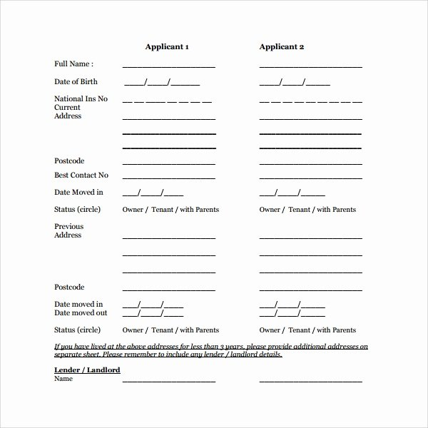 Tenant Information Sheet Template Inspirational 11 Tenant Information forms Pdf Word