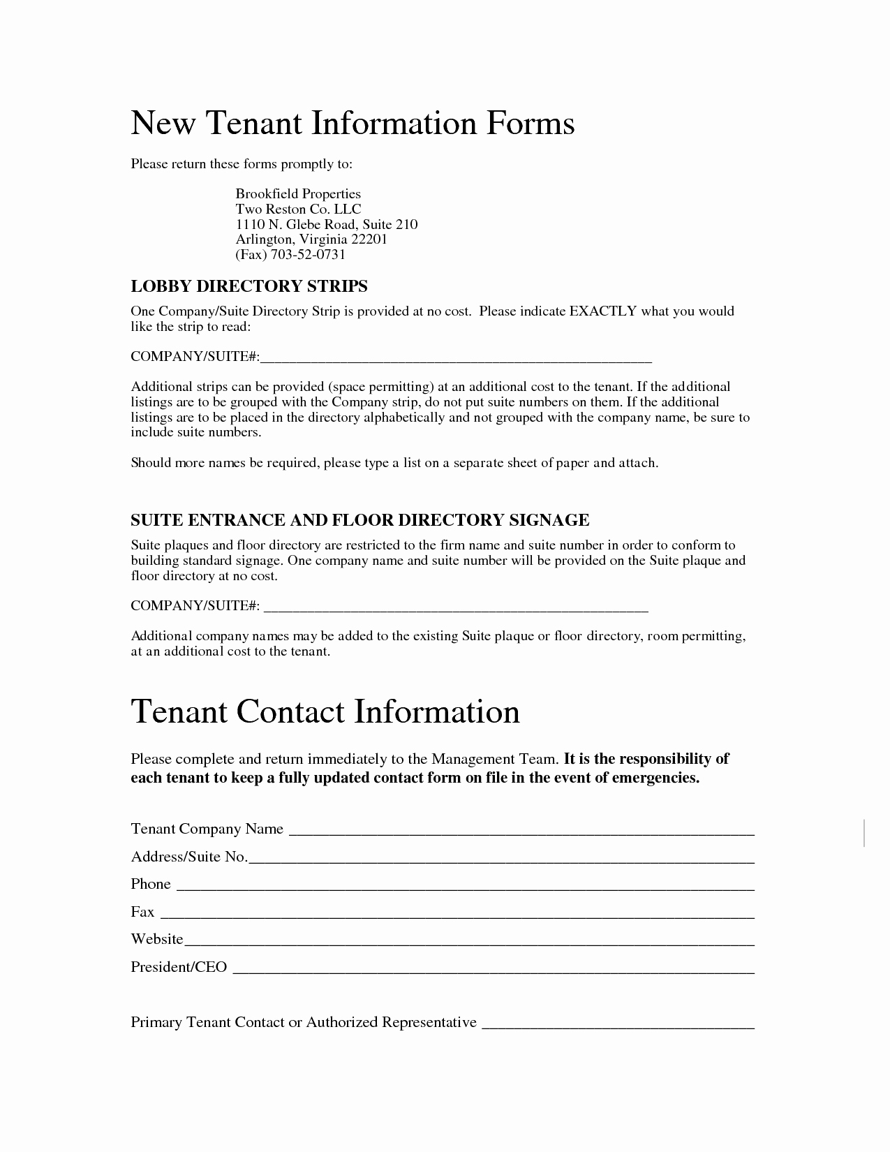 Tenant Information Sheet Template Luxury Best S Of Renter Information form Tenant