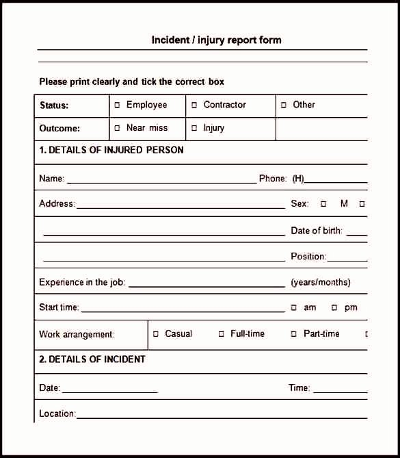 Trade Show Lead form Template Elegant Workplace Injury Report form Template Template Update234
