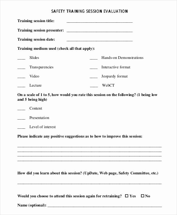 Training Evaluation form Template Best Of Free 26 Training Evaluation form Templates