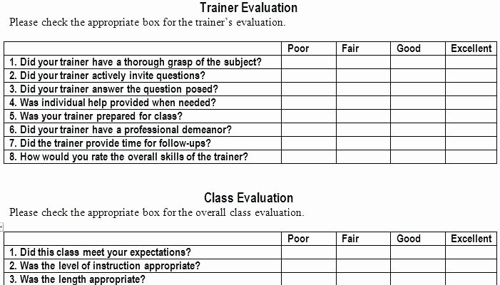 Training Evaluation form Template Lovely Training Evaluation Survey Template