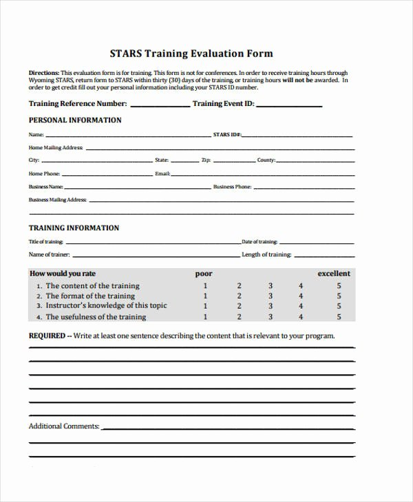Training Evaluation form Template New Free 32 Free event Evaluation forms