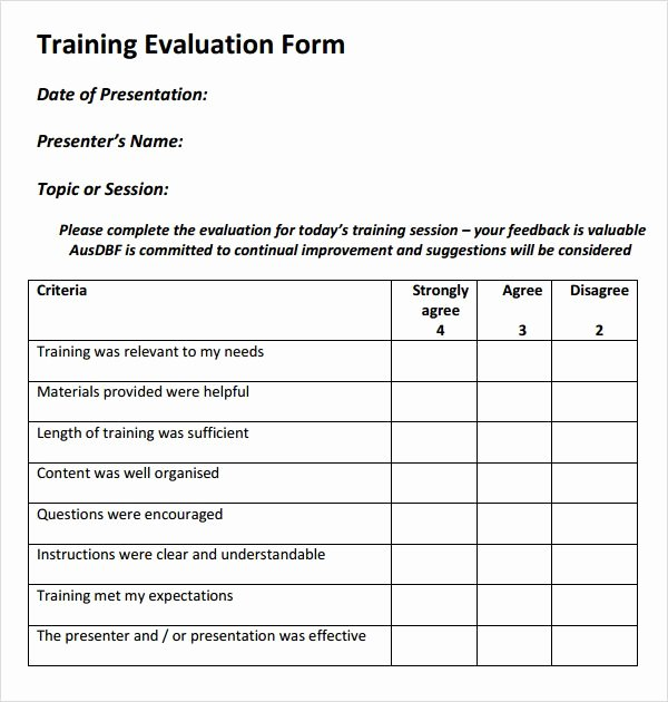 Training Evaluation form Template New Training Evaluation form Templates