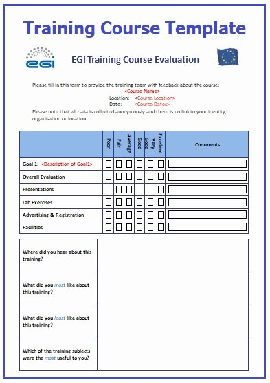 Training Evaluation form Template Unique Training Course Templates