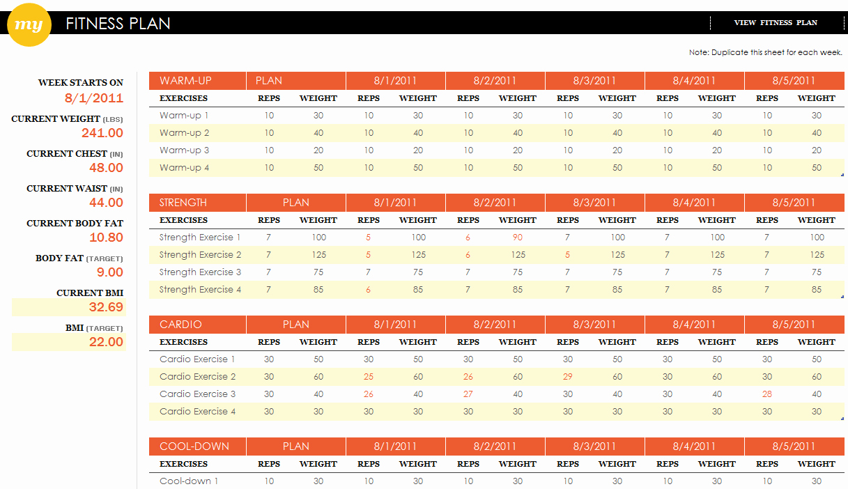 Training Plan Template Excel Fresh Fitness Plan Excel Template