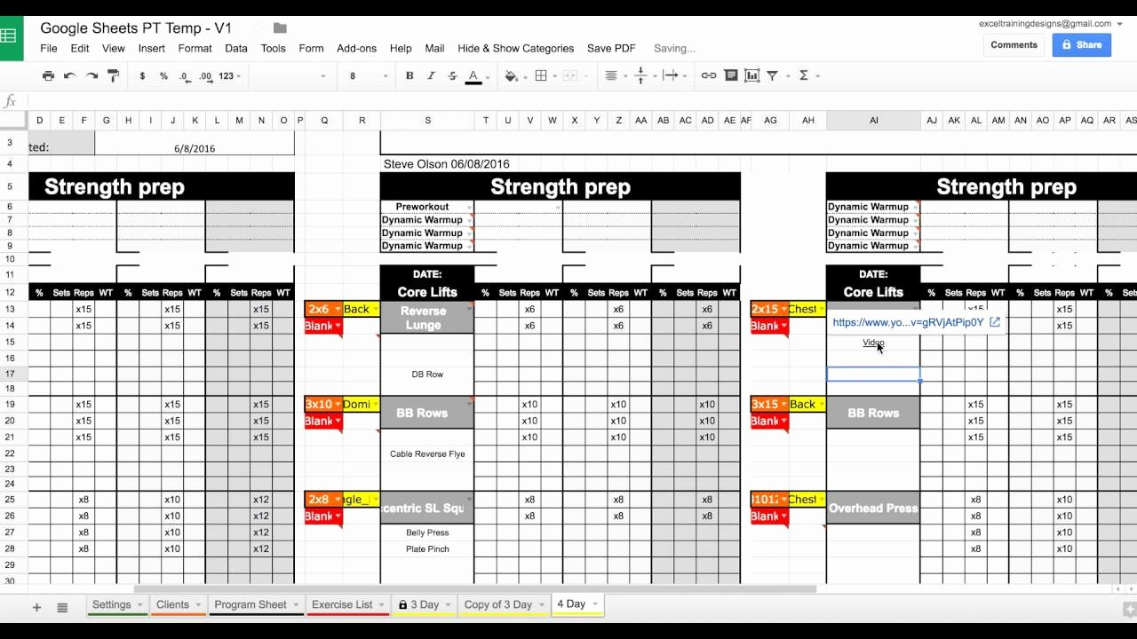 Training Schedule Template Excel Fresh Setting Up Your Google Sheets Personal Training Template
