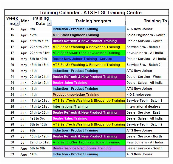 Training Schedule Template Excel Inspirational Free 21 Sample Training Calendar Templates In Google Docs