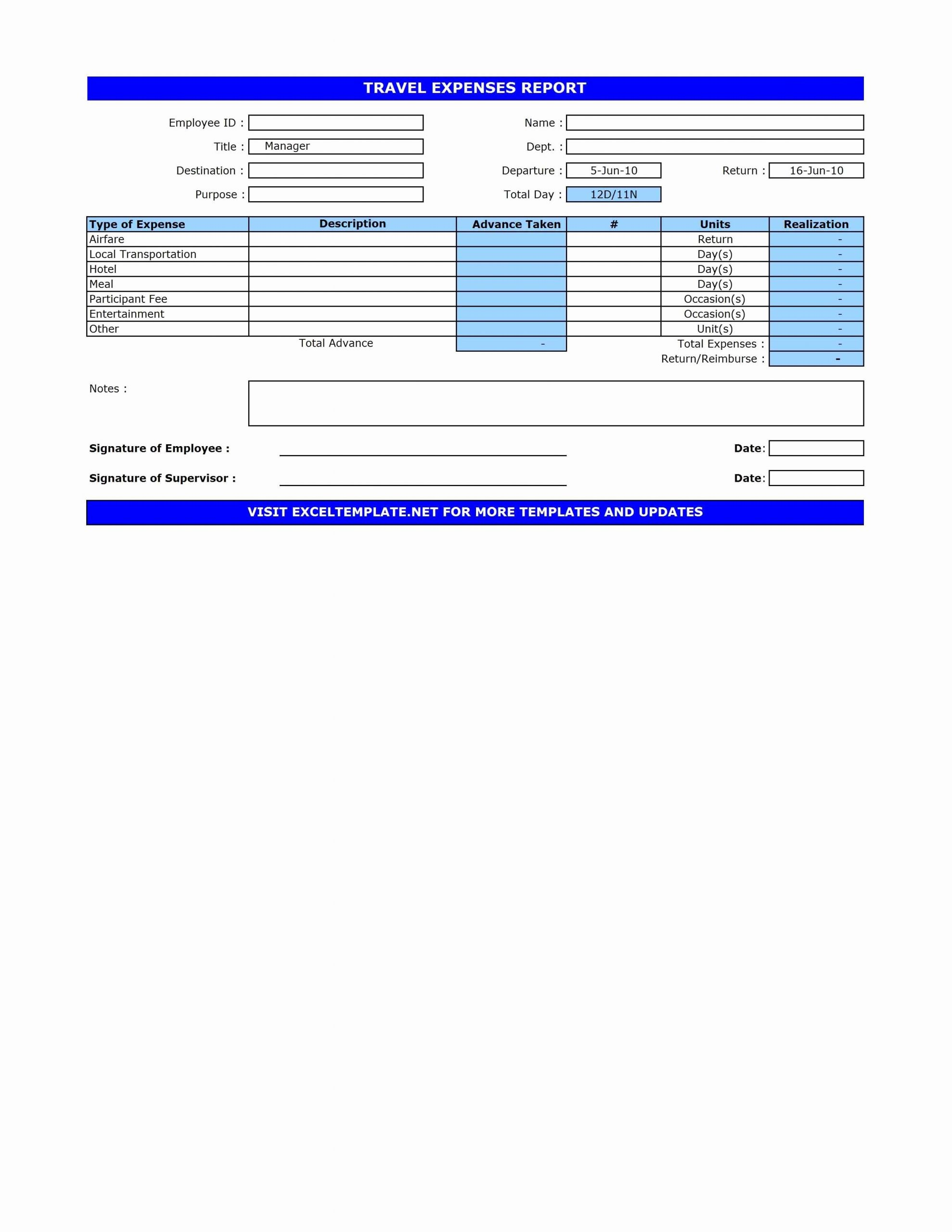 Travel Expense form Template Beautiful Travel Expenses Report Template