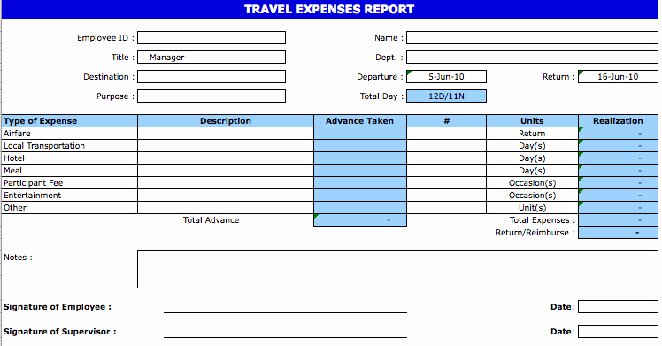 Travel Expense form Template Fresh Travel Expense Template