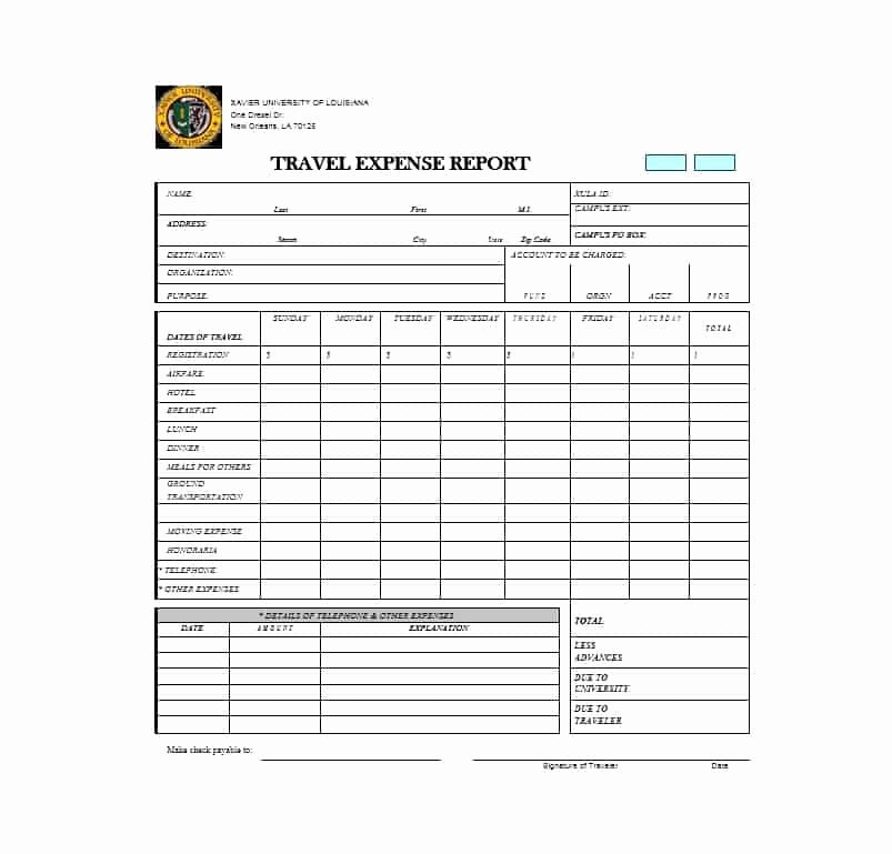 Travel Expense form Template Luxury 46 Travel Expense Report forms & Templates Template Archive