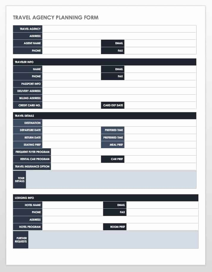 Travel Itinerary Planner Template Awesome Free Itinerary Templates