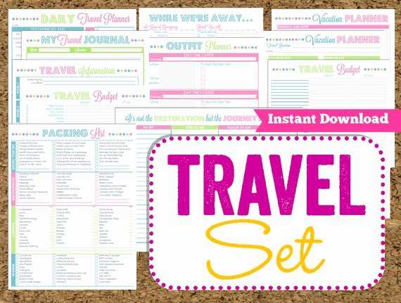 Travel Itinerary Planner Template Awesome Instant Download Travel Printables Vacation Planner 14 Pdf