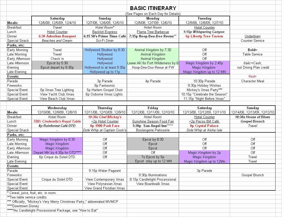Travel Itinerary Planner Template Elegant I Basic Itinerary