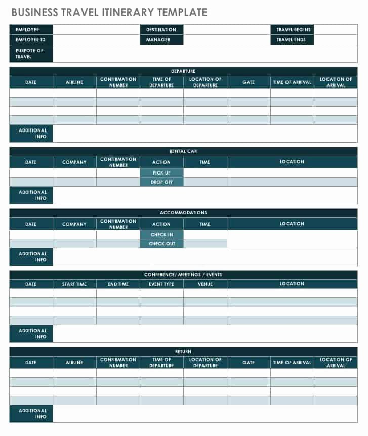 Travel Itinerary Planner Template Inspirational Free Itinerary Templates