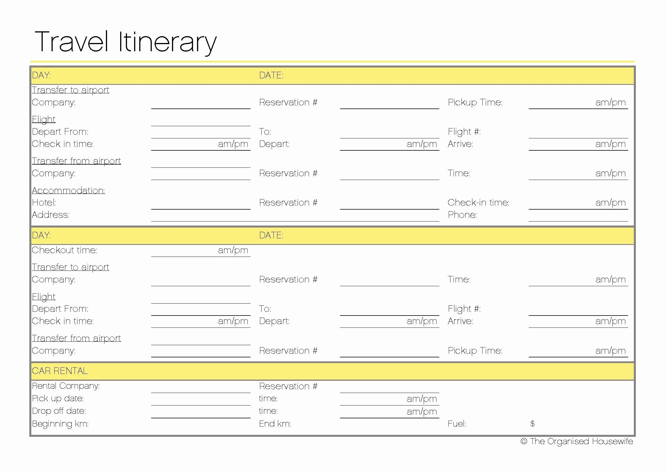 Travel Itinerary Planner Template Inspirational Free Printable – Travel Itinerary