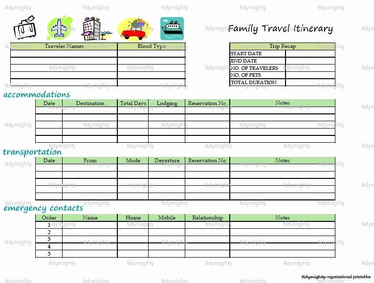 Travel Itinerary Planner Template Luxury Family Travel Itinerary organizer Printable Pdf by