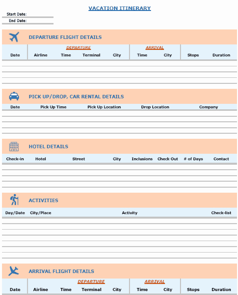 Travel Itinerary Planner Template Unique 15 Free Travel Itinerary Templates Vacation & Trip