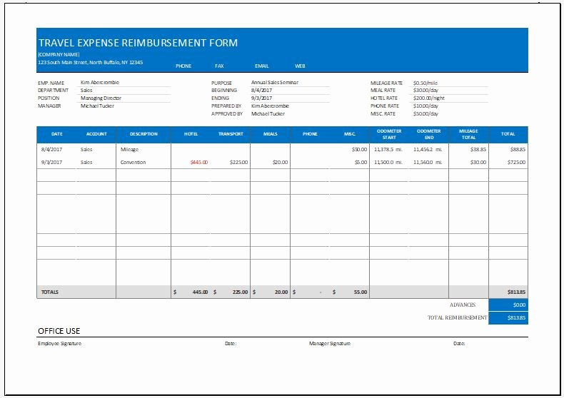 Travel Reimbursement form Template Best Of Expense Reimbursement form Templates for Excel