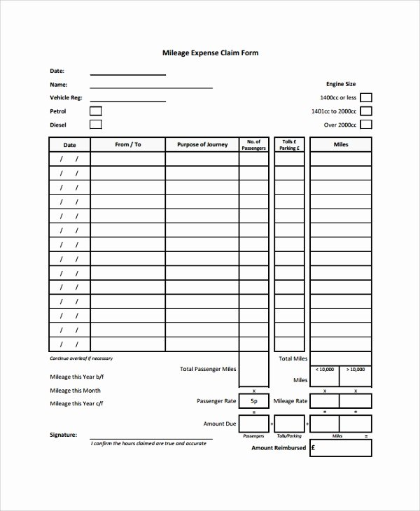 Travel Reimbursement form Template Inspirational Sample Expense form 7 Documents In Pdf Word