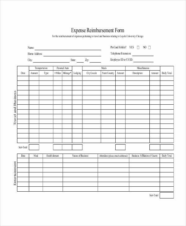 Travel Reimbursement form Template Inspirational Sample Mileage Reimbursement form 11 Examples In Word