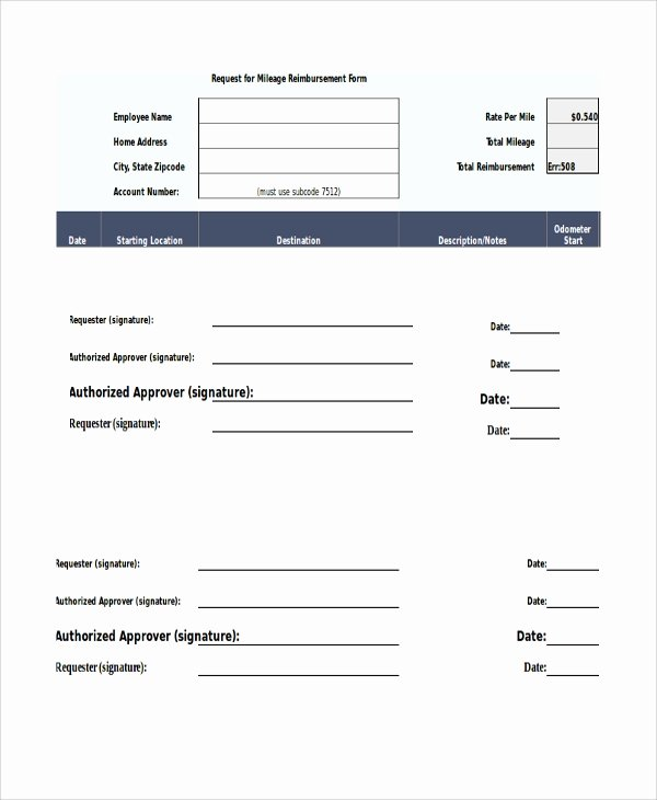 Travel Reimbursement form Template Luxury Sample Mileage Reimbursement form 11 Examples In Word
