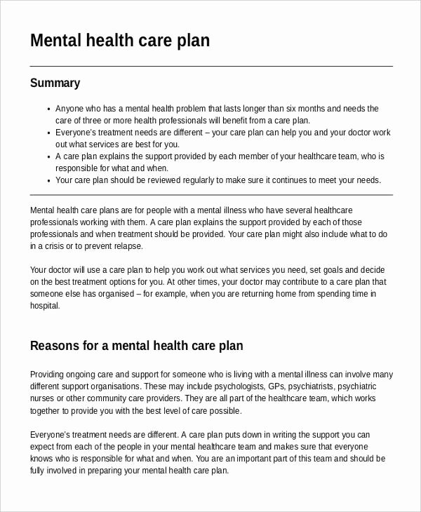 Treatment Plan Template Mental Health New Mental Health Care Plan Template 9 Free Sample Example