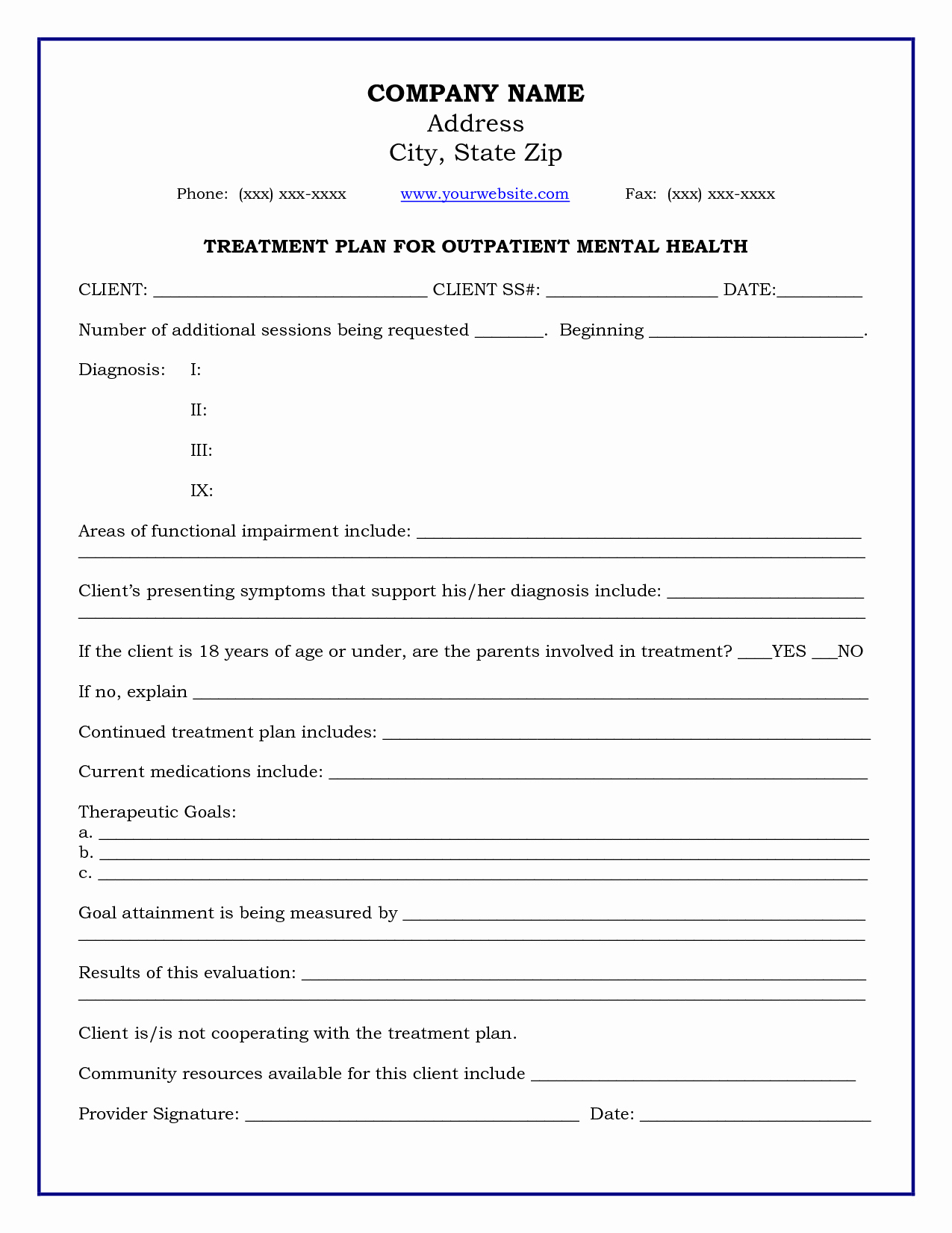 Treatment Plan Template Mental Health New Treatment Plan Template