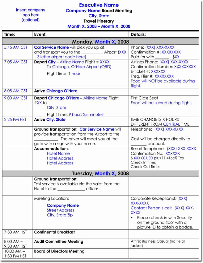 Trip Itinerary Planner Template Awesome Free Itinerary Templates to Perfectly Plan Your Trips