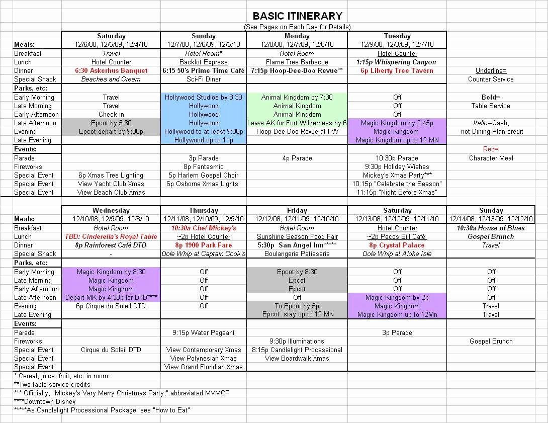 Trip Itinerary Planner Template Inspirational Basic 2019 December Disney World Itinerary