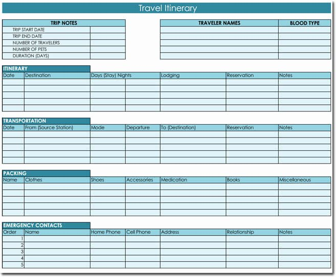 Trip Itinerary Planner Template Inspirational Free Itinerary Templates to Perfectly Plan Your Trips
