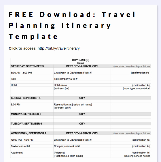 Trip Itinerary Planner Template Unique Free Download Travel Planning Itinerary Template In 2019