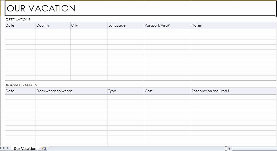 Trip Planner Template Excel Beautiful Vacation Planner Template Excel Templates