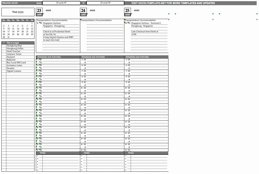 Trip Planner Template Excel Elegant Travel Planner Template Exceltemplate
